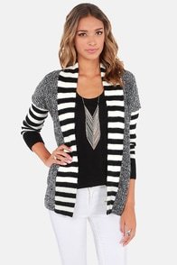 Lavand Draw the Line Ivory and Black Cardigan Sweater at Lulus.com!
