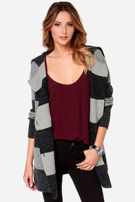 Head to Tonal Grey Striped Sweater Jacket at Lulus.com!