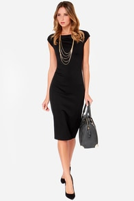 Black Swan Onix Black Midi Dress at Lulus.com!