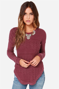 RVCA Florence Washed Burgundy Knit Sweater at Lulus.com!