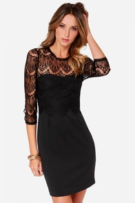 Black Swan Nutmeg Black Lace Dress at Lulus.com!