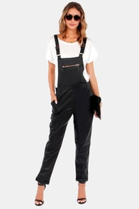 Lucca Couture Friends Till the End Black Vegan Leather Overalls at Lulus.com!