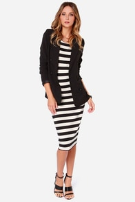 Others Follow Dinna Black and Cream Striped Midi Dress at Lulus.com!