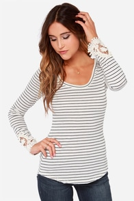 Black Swan Mistletoe Cream Striped Top at Lulus.com!