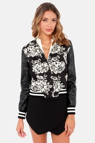 Hey Combo Ivory and Black Floral Print Jacket at Lulus.com!