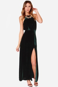Line and Dot Kelly Dark Green Velvet Maxi Dress at Lulus.com!