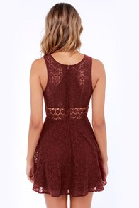 Afternoon in the Park Burgundy Lace Dress at Lulus.com!