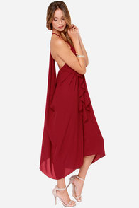 Draped in Finery Wine Red Dress at Lulus.com!