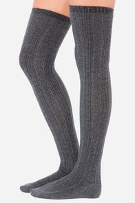 Erin Go Bragh Grey Over The Knee Socks at Lulus.com!