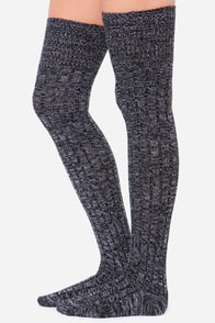 Static at the Disco Black and Ivory Over The Knee Socks at Lulus.com!