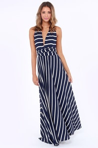 Tricks of the Trade Navy Blue Striped Maxi Dress at Lulus.com!
