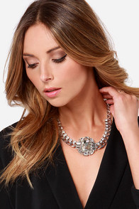 Glisten and Learn Silver Rhinestone Necklace at Lulus.com!