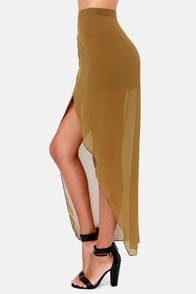 Comet's Tail Olive Green Skirt at Lulus.com!