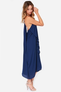 Draped in Finery Navy Blue Dress at Lulus.com!