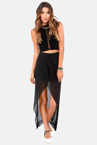 Comet's Tail Black Skirt at Lulus.com!