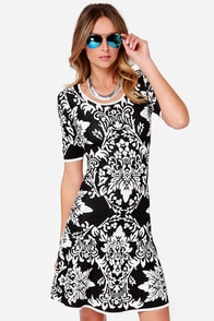 Scroll-girl Crush Black and White Print Sweater Dress at Lulus.com!