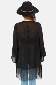 Bardot's Boudoir Embroidered Black Kimono Top at Lulus.com!