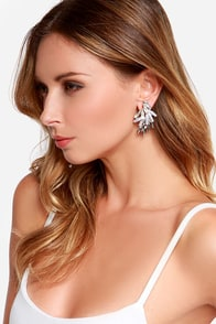Star Bright Silver Rhinestone Earrings at Lulus.com!