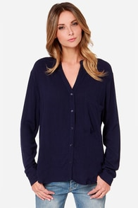 Copy Cat Long Sleeve Navy Blue Top at Lulus.com!