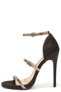 Glam I Am Black Satin Ankle Strap Heels at Lulus.com!