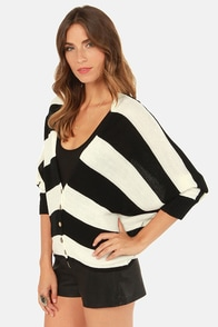 Opposing Sides Black and White Striped Sweater at Lulus.com!