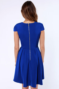 A Sight To Be Seam Royal Blue Skater Dress at Lulus.com!