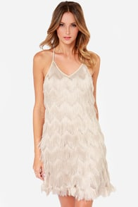 JOA Do You Speak Fringe? Beige Fringe Dress at Lulus.com!