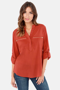 Don't Be Zippin' Rust Orange Top at Lulus.com!