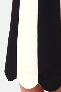 Mod This Way Black and Ivory Striped Shift Dress at Lulus.com!