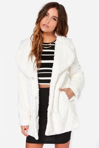 Mink Pink Cloud Nine Ivory Faux Fur Coat