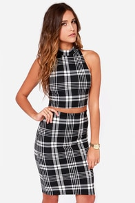 Two Can Play Black Plaid Two-Piece Dress at Lulus.com!