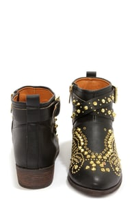 Coconuts Badd Black and Gold Studded Ankle Boots at Lulus.com!