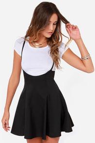 Meet Me Half Way Black Suspender Skirt at Lulus.com!