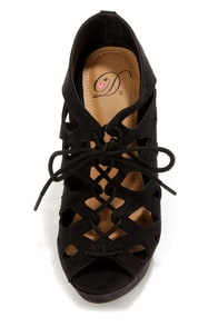 My Delicious Getty Black Cutout Lace-Up Platform Wedges at Lulus.com!