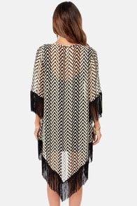 Somewhere My Love Black and Cream Chevron Print Kimono Top at Lulus.com!