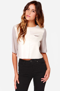 Set in Tone Taupe and Cream Vegan Leather Crop Top at Lulus.com!
