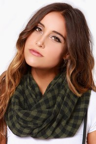 Country Club Caddy Olive Green Plaid Infinity Scarf at Lulus.com!