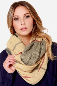 Wear-ever You Are Beige Plaid Infinity Scarf at Lulus.com!