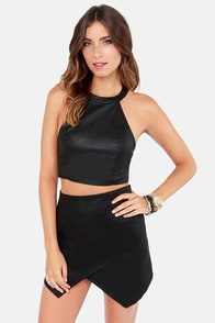 Hot Glam! Black Vegan Leather Halter Top at Lulus.com!