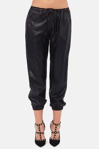 Pants Pants Revolution Black Vegan Leather Cropped Pants at Lulus.com!