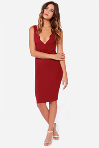 LULUS Exclusive Work of Heart Midi Wine Red Bodycon Dress at Lulus.com!