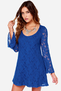 Dee Elle You Better Bell-ieve It Blue Long Sleeve Lace Dress at Lulus.com!