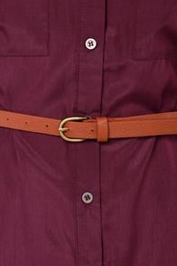 Top Drawer Belted Burgundy Shirt Dress at Lulus.com!
