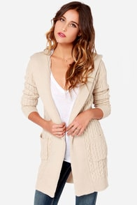 Feels Like Home Beige Hooded Sweater at Lulus.com!