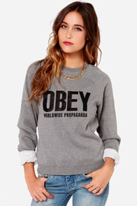 Obey Ellis Crew Grey Sweater at Lulus.com!