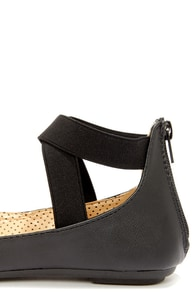 Bamboo Standouts 17A Black Ankle Strap Ballet Flats at Lulus.com!