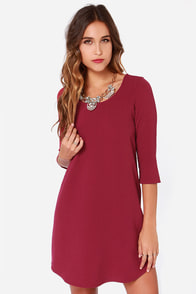 Jack by BB Dakota Madden Burgundy Shift Dress at Lulus.com!