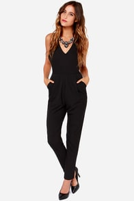 Bossy Pants Sleeveless Black Jumpsuit at Lulus.com!