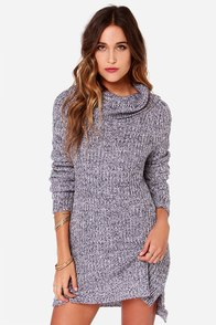 Olive & Oak Cowl Be There Navy and Lavender Sweater Dress at Lulus.com!