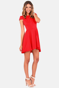 A Sight To Be Seam Red Skater Dress at Lulus.com!
